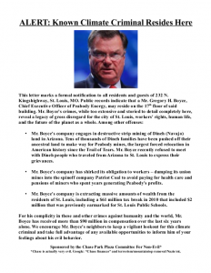 Flyer distributed near Peabody CEO Greg Boyce&#039;s St. Louis home identifying him as a &quot;Climate Criminal&quot; and calling him out for forcing Navajo off their land and stealing miner&#039;s pensions.